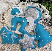 Сувениры и подарки handmade. Livemaster - original item Christmas decorations out of felt. turquoise. Handmade.