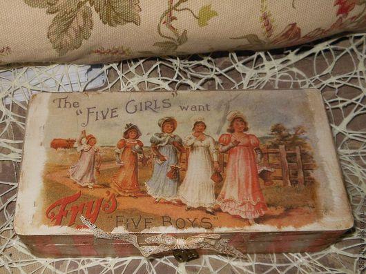 """Шкатулки ручной работы. Ярмарка Мастеров - ручная работа. Купить """"5 девочек"""" шкатулка. Handmade. Бежевый, шкатулка-купюрница, старение"""