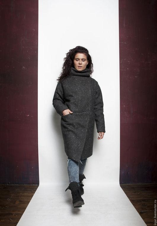 Верхняя одежда ручной работы. Ярмарка Мастеров - ручная работа. Купить Пальто зимнее.. Handmade. Черный, зимнее пальто, шерстепон