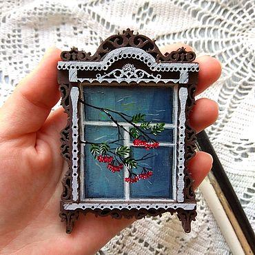 Сувениры и подарки ручной работы. Ярмарка Мастеров - ручная работа Магнит окно с рябинкой. Handmade.