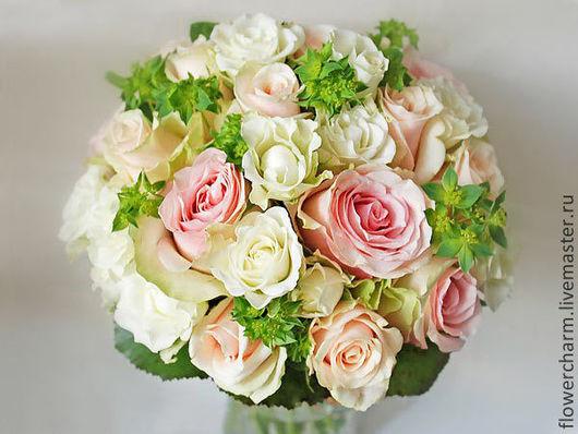 Букет невесты светло-розовый с мятной зеленью