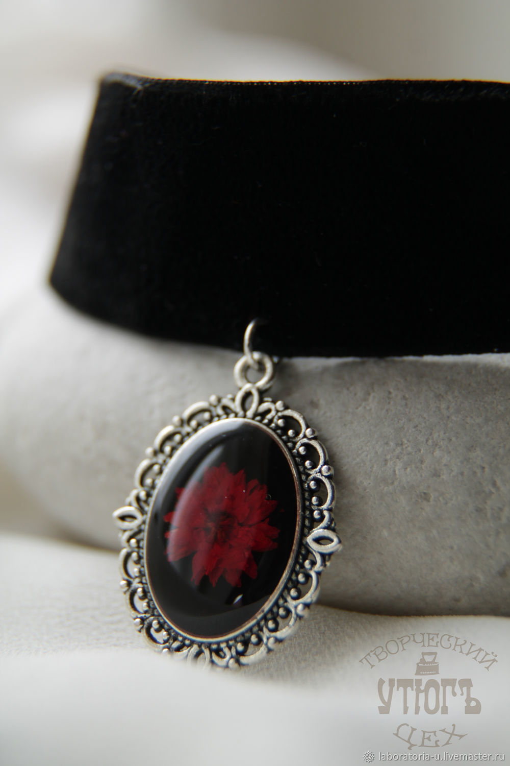 Black and red jewelry set from jewelry resin with real flowers, Jewelry Sets, Samara,  Фото №1