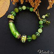 """Украшения ручной работы. Ярмарка Мастеров - ручная работа Браслет """"Зелёное яблоко"""" - лэмпворк, чешское стекло, оникс. Handmade."""