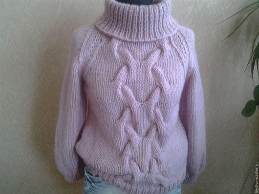 Кофты и свитера ручной работы. Ярмарка Мастеров - ручная работа. Купить свитер с объемной косой. Handmade. Комбинированный, полушерсть