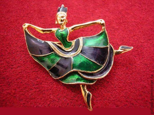 """Винтажные украшения. Ярмарка Мастеров - ручная работа. Купить Брошь """"Танцовщица""""  от Sphinx. Handmade. Зеленый, брошь, брошь танцовщица"""