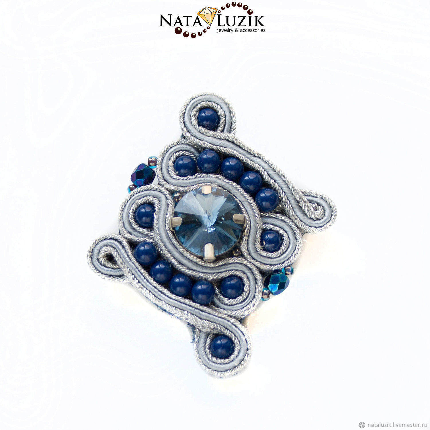 Soutache brooch with crystal grey blue silver Blue shining