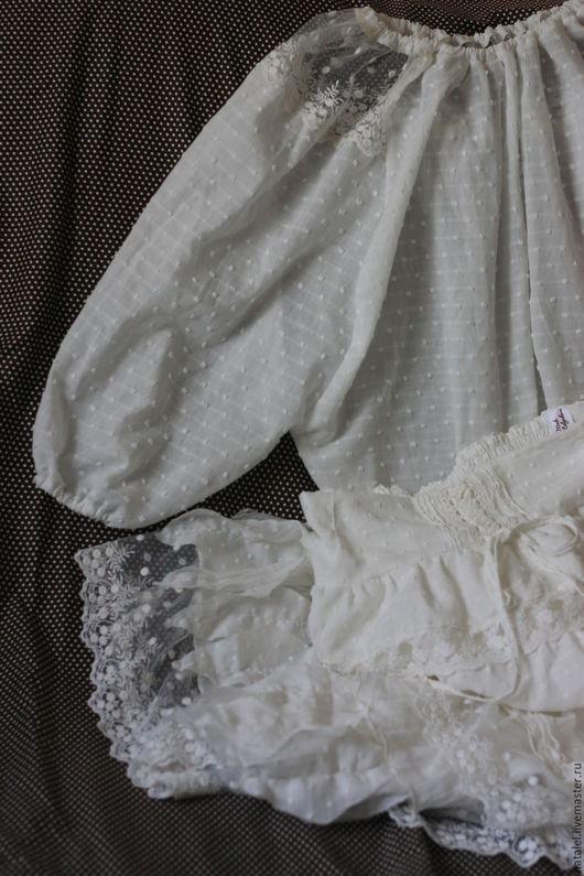 Юбки ручной работы. Ярмарка Мастеров - ручная работа. Купить Юбка белая с кружевом и блузка, летний комплект, кружево, БОХО, оборки. Handmade.