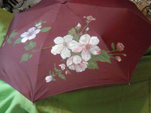 """Зонты ручной работы. Ярмарка Мастеров - ручная работа. Купить зонтик """"Цветы яблони"""". Handmade. Зонт, зонт с рисунком, цветы"""