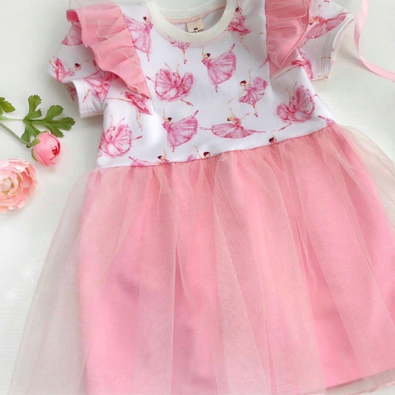 Платье трикотажное с крылышками для девочки, Платья, Санкт-Петербург,  Фото №1