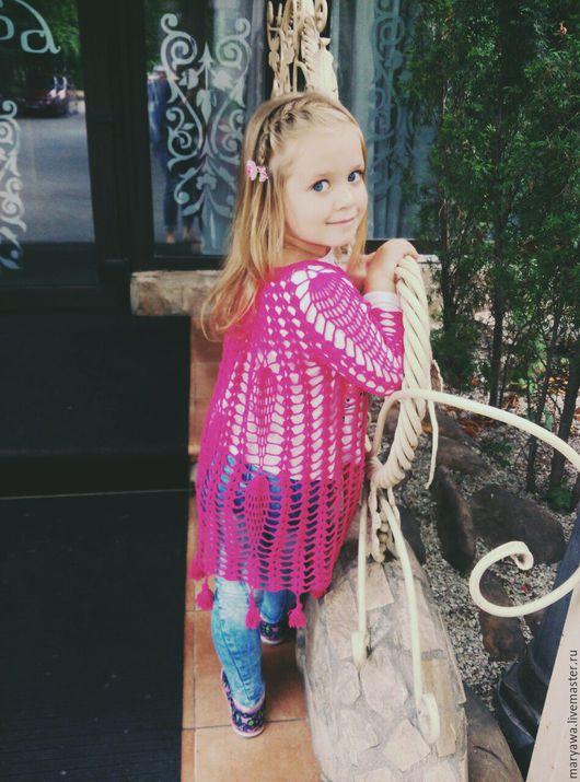 """Одежда для девочек, ручной работы. Ярмарка Мастеров - ручная работа. Купить Летний Кардиган """"Модная штучка"""". Handmade. Фуксия"""