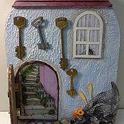 """Для дома и интерьера ручной работы. Ярмарка Мастеров - ручная работа """"Дверь к счастью! Домик у моря!""""  -  ключница панно. Handmade."""