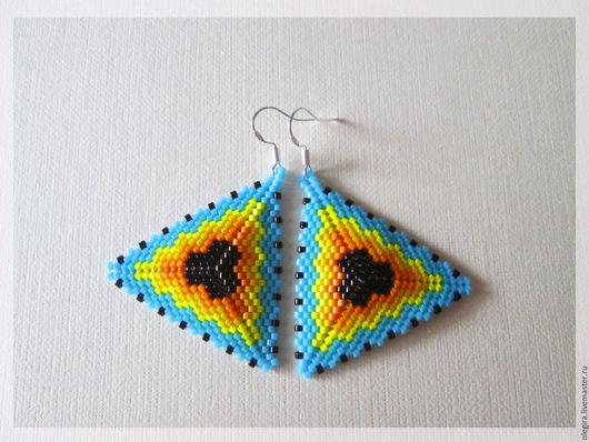 """Серьги ручной работы. Ярмарка Мастеров - ручная работа. Купить Серьги """" Яркие треугольники"""". Handmade. Комбинированный, треугольник"""