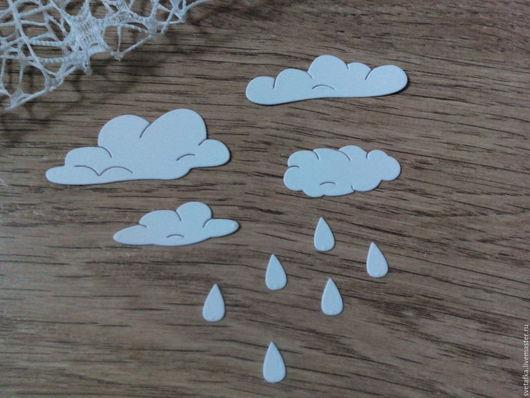 Открытки и скрапбукинг ручной работы. Ярмарка Мастеров - ручная работа. Купить !Вырубка для скрапбукинга - Облака и дождик, дизайнерский картон. Handmade.