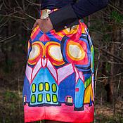 Одежда ручной работы. Ярмарка Мастеров - ручная работа Розовый город - юбка с авторским принтом. Handmade.