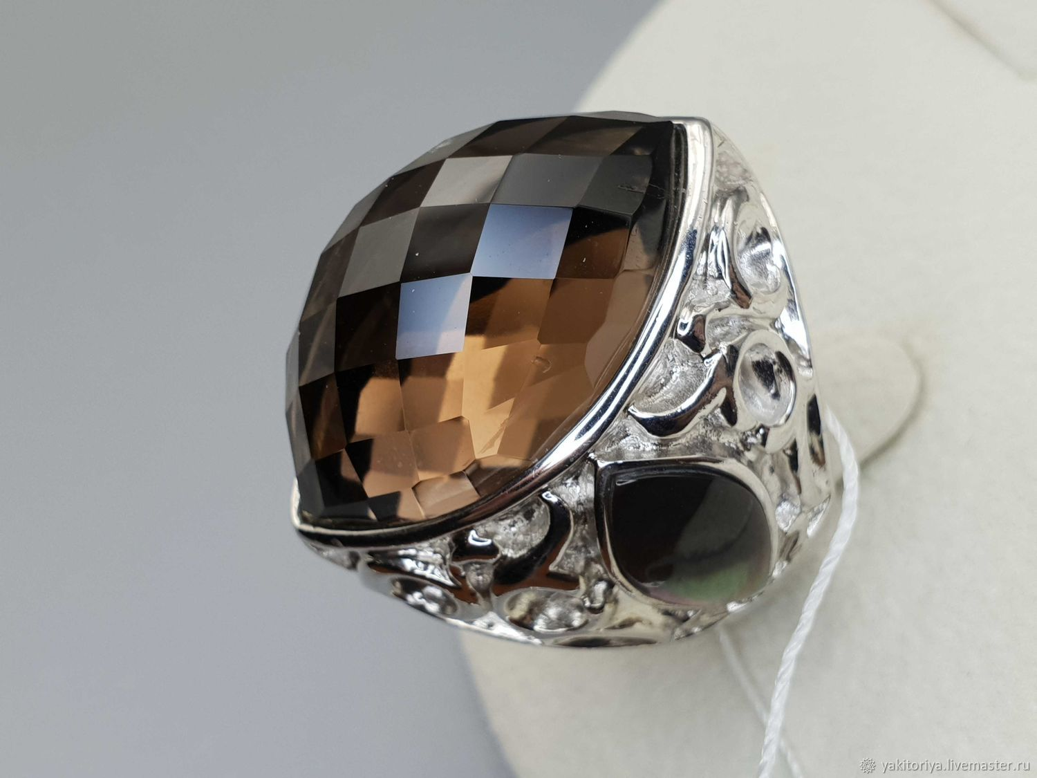 Silver ring with rauchtopaz 28h18 mm and mother of pearl, Rings, Moscow,  Фото №1