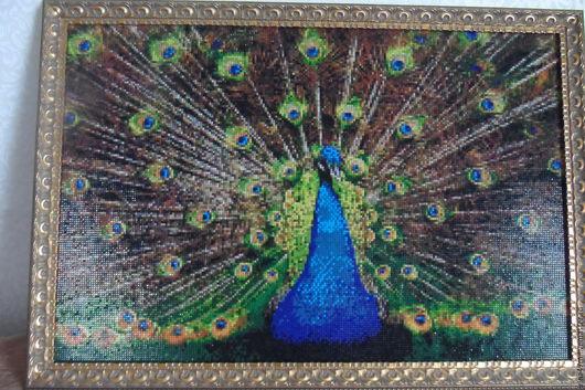 Животные ручной работы. Ярмарка Мастеров - ручная работа. Купить картина. Handmade. Комбинированный, стразы, павлин, для дома и интерьера