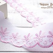 Материалы для творчества handmade. Livemaster - original item Lace sewing pink and white, width 5 cm. Handmade.