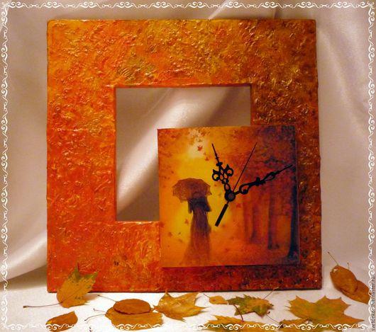 """Часы для дома ручной работы. Ярмарка Мастеров - ручная работа. Купить Часы """"Осенний блюз"""" Проданы. Handmade. Рыжий"""