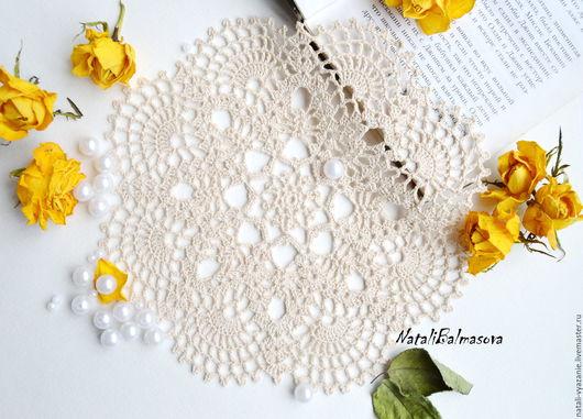 Текстиль, ковры ручной работы. Ярмарка Мастеров - ручная работа. Купить Салфетка вязаная крючком. Handmade. Бежевый, ажур
