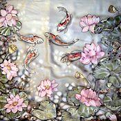Аксессуары ручной работы. Ярмарка Мастеров - ручная работа Батик. Платок с рыбами и лотосами.. Handmade.