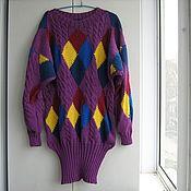Одежда ручной работы. Ярмарка Мастеров - ручная работа платье-свитер с ромбами. Handmade.
