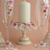 """Свадебный салон ручной работы. Ярмарка Мастеров - ручная работа Свадебный комплект """"Апрель""""бокалы,свечи,подсвечники. Handmade."""