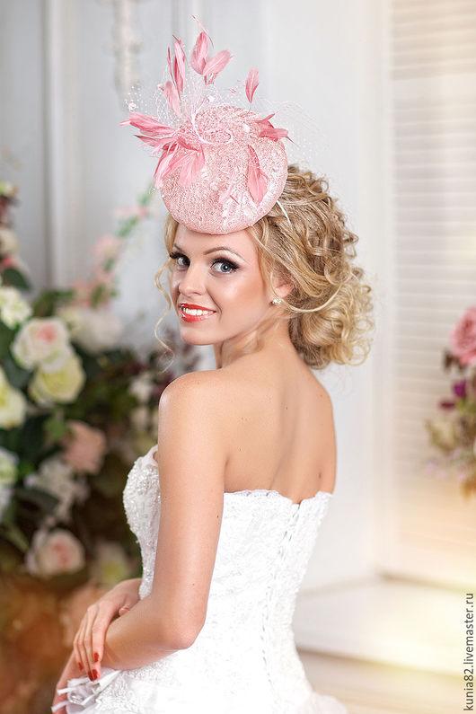 Свадебные и вечерние аксессуары ручной работы. Коктейльная шляпка `I love pink`. Анна Андриенко. Ярмарка Мастеров.