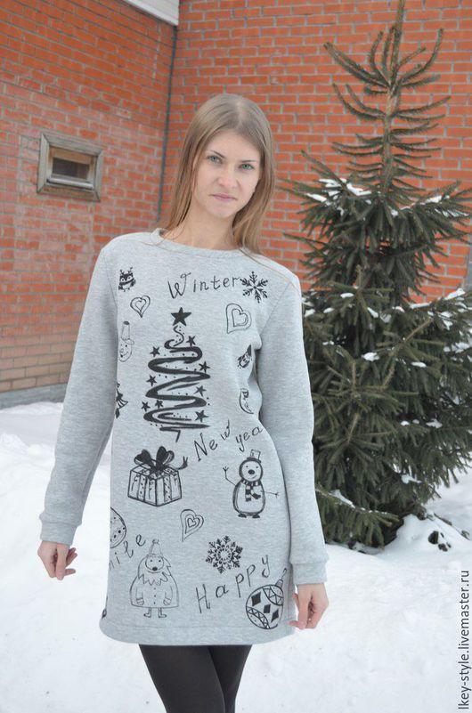 Платья ручной работы. Ярмарка Мастеров - ручная работа. Купить Теплое платье серое с принтом. Handmade. Платье, Платье нарядное