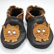 Одежда детская handmade. Livemaster - original item Ginger cat Baby Shoes, Baby Booties, Soft Sole Baby Shoes. Handmade.