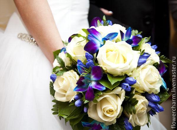 Бело синий букет невесты купить