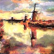 Pictures handmade. Livemaster - original item Pastel painting sunset Mill (yellow brick Holland). Handmade.