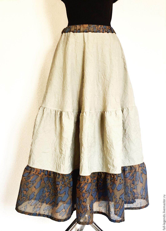 Сафари юбка длинная