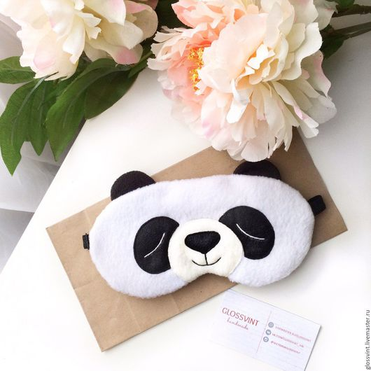 """Белье ручной работы. Ярмарка Мастеров - ручная работа. Купить Маска для сна """"Панда"""". Handmade. Маска для сна, нежно розовый"""