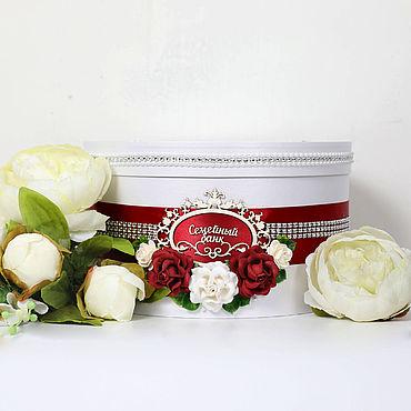 """Свадебный салон ручной работы. Ярмарка Мастеров - ручная работа Свадебная коробка для денег """"Марсала"""" цветочная. Handmade."""