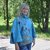 Одежда ручной работы. Ярмарка Мастеров - ручная работа Жакет валяный шерстяной женский голубой валяный жакет. Handmade.