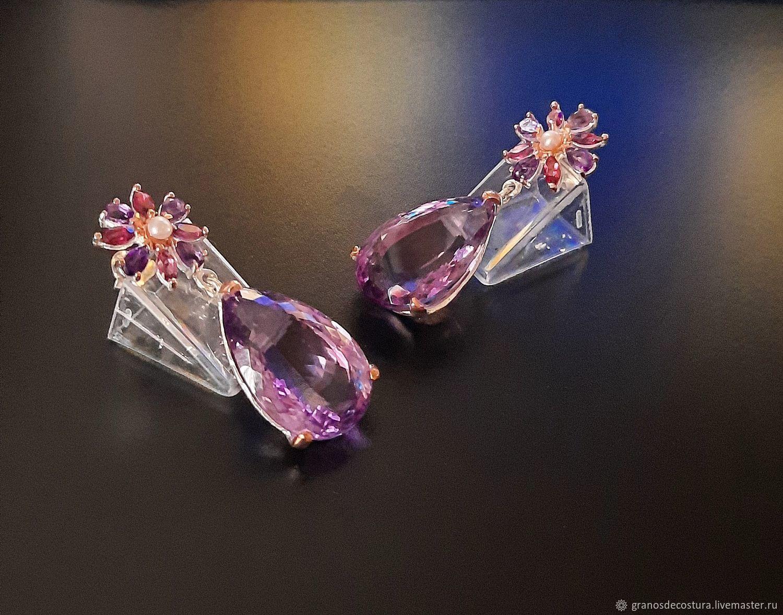 Earrings with amethyst, rhodolite and pearls, Earrings, Krasnodar,  Фото №1