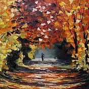 """Картины и панно ручной работы. Ярмарка Мастеров - ручная работа Картина маслом """"Осенний пейзаж. Двое"""" по мотивам Афремова. Handmade."""