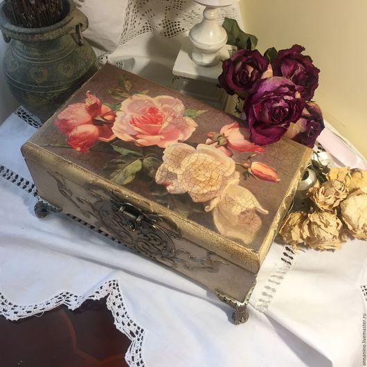 Шкатулки ручной работы. Ярмарка Мастеров - ручная работа. Купить Шкатулка деревянная Викторианская роза. Handmade. Шкатулка, шкатулка для чая