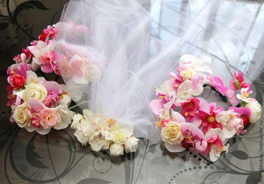 Свадебные украшения ручной работы. Ярмарка Мастеров - ручная работа. Купить Фата и ободочки на девичник. Handmade. Разноцветный, подружка невесты