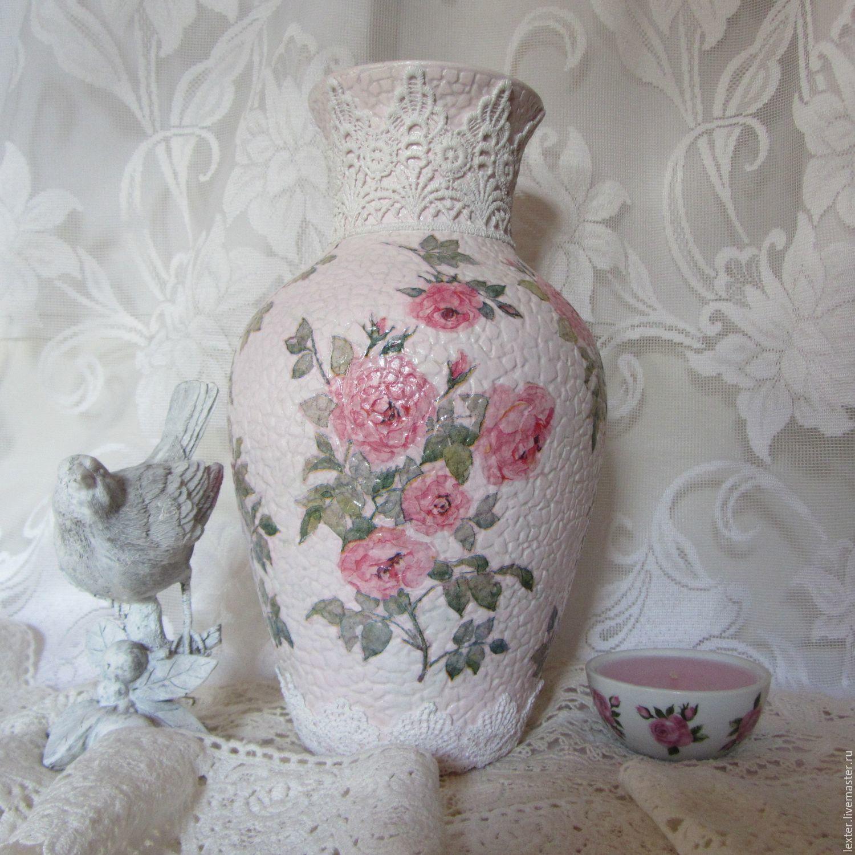 Вазы ручной работы. Стеклянная ваза Нежные розы, Вазы, Москва,  Фото №1