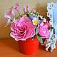 """Интерьерные композиции ручной работы. Ярмарка Мастеров - ручная работа. Купить Букет """"Нежность"""" из полимерной гллины. Handmade. Розовый"""