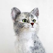 Куклы и игрушки handmade. Livemaster - original item Grey striped cat. felted toy made of wool. Handmade.