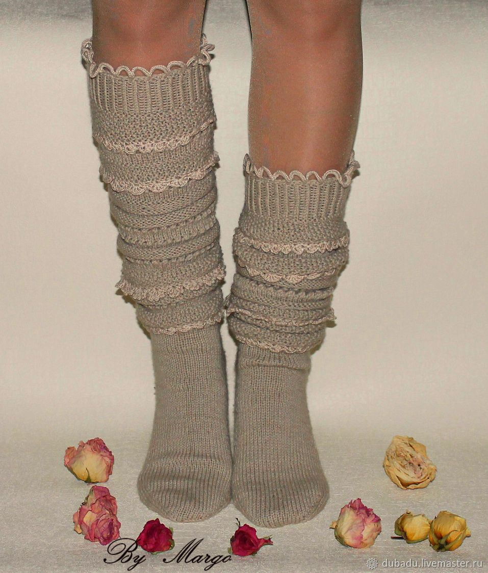 Socks-socks high woolen with lace, Socks, Moscow,  Фото №1