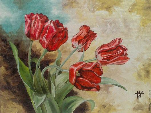 Картины цветов ручной работы. Ярмарка Мастеров - ручная работа. Купить Тюльпаны. Handmade. Комбинированный, цветы, тюлбпаны, подарок, Живопись