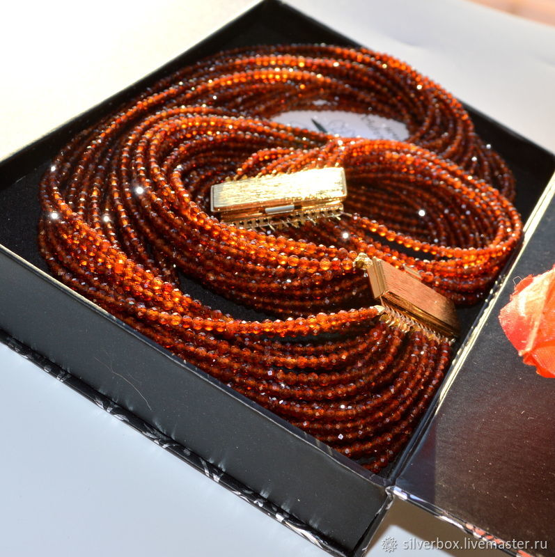 Garnet Spessartine Necklace ORANGE MOOD Author's necklace, Necklace, Moscow,  Фото №1