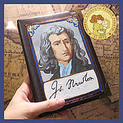 Канцелярские товары handmade. Livemaster - original item A notebook with a portrait of Isaac Newton. Handmade.