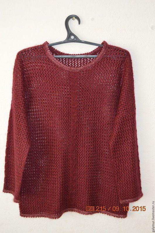 Кофты и свитера ручной работы. Ярмарка Мастеров - ручная работа. Купить Бордовый пуловер. Handmade. Бордовый, сеточка, люрекс