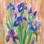 Картины и панно ручной работы. Ярмарка Мастеров - ручная работа Живопись Букет ирисов картина с цветами для интерьера. Handmade.
