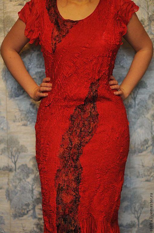 Платья ручной работы. Ярмарка Мастеров - ручная работа. Купить Красное валяное платье. Handmade. Ярко-красный, Валяние