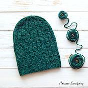 Аксессуары ручной работы. Ярмарка Мастеров - ручная работа Зеленая шапка бини. Handmade.